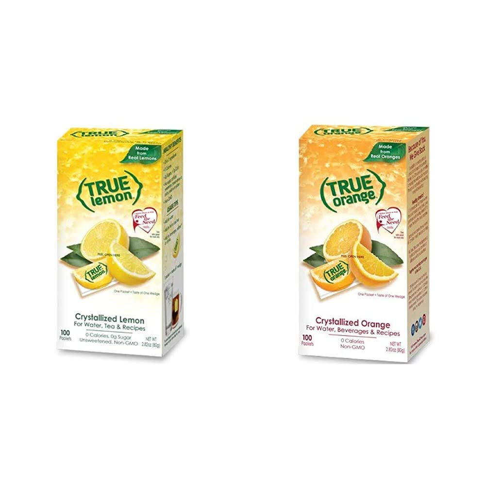 True Lemon Bulk Dispenser Pack, 0.028 Ounce, (100 Packets) & Orange 100 Count, red