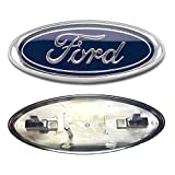 """2005-2007 Ford F250/F350 Super Duty Dark Blue Oval 9"""" X 3.5"""" Front Grille Replacement Badge Emblem Medallion Name Plate"""