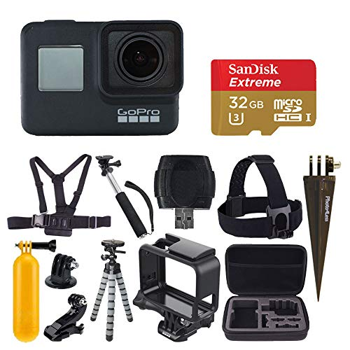 GoPro HERO7 Black Digital Action Camera with 4K HD Video 12MP Photos, SanDisk 32GB Micro SD Card, Hard Case - Gopro Hero 7 Accessory Bundle from PHOTO4LESS