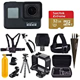 GoPro HERO7 Black Digital Action Camera 4K HD Video 12MP Photos, SanDisk 32GB Micro SD Card, Hard Case - Accessory Bundle