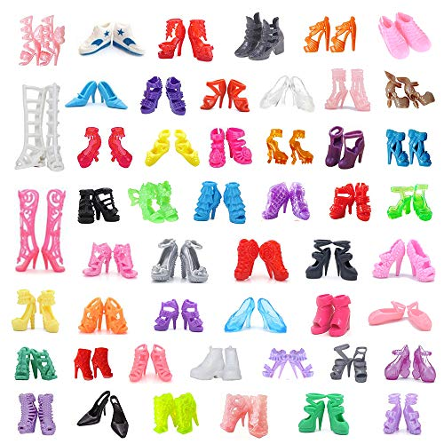 "DoubleWood 50Pairs 11.5"" Fashion Doll Shoes Replacement Different Assorted Colors High Heel Shoes Doll Boots Flat Shoes Set Replacement for Barbie Doll"