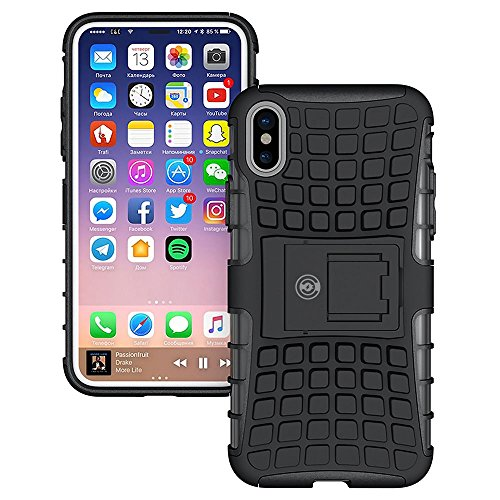 iPhone X Case, iPhone X Case by Cable and Case - [HEAVY DUTY] Tough Dual Layer 2 in 1 Rugged Rubber Hybrid Hard/Soft Impact Protective Cover [With Kickstand] Shipped from the U.S.A. - Black