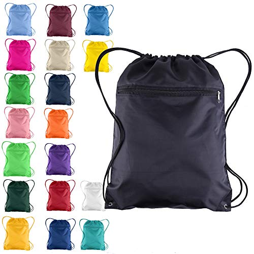 Set of 12 Drawstring Polyester Backpack Cinch Bags for Gym School 12 Pack Kelly Green