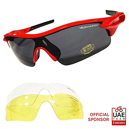 VeloChampion Warp Cycling Running Sports Sunglasses - (with 3 lens: inc smoked, clear) (Red Frame with Black Nose and - Lens Cycling Sunglasses 3