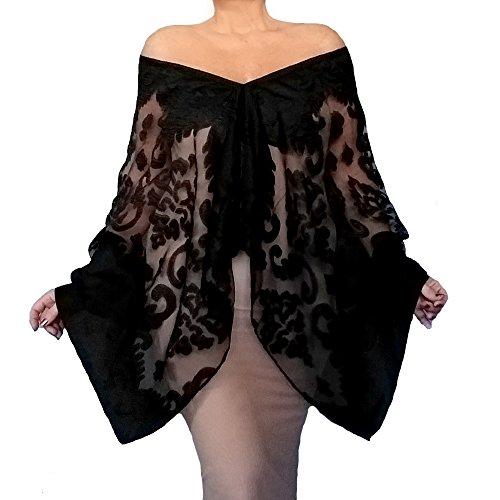 Plus Size Black Wrap Organza Evening Shawl Fancy Stole By ZiiCi