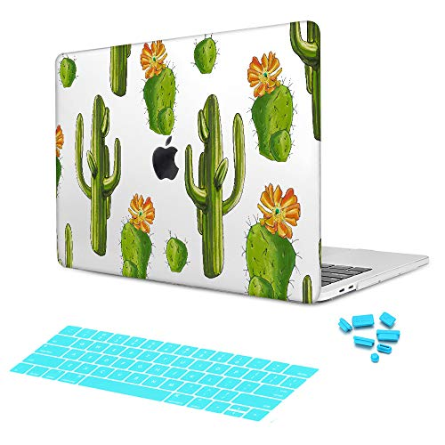 Batianda Flower Succulent Green Cacti Doodle Cactus Images with Keyboard Cover Clear Crystal Snap-On Hard Case for MacBook Pro 13 inch With Retina Display (Model: A1502/A1425) (5d Series Notebook Laptop)