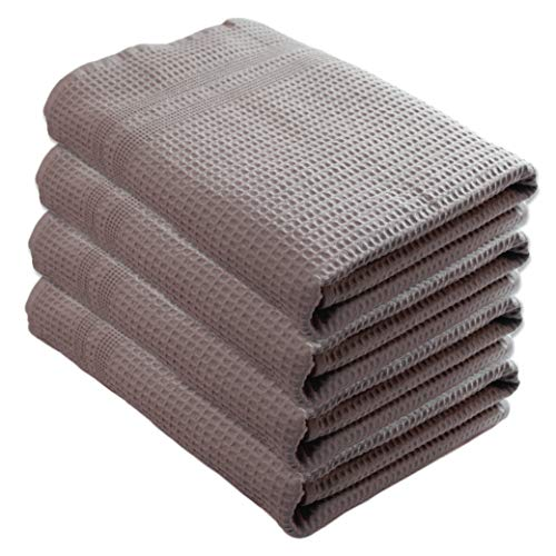 - Gilden Tree 100% Natural Cotton Classic Waffle Weave Bath Towel Set of 4 (Pewter)