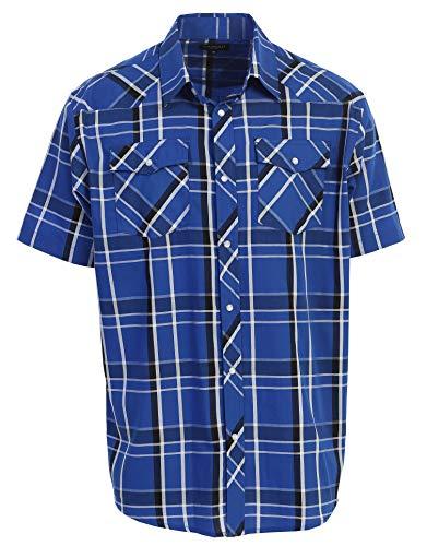 Gioberti Men's Plaid Western Shirt, Royal Blue/White Stripe, 4X Large