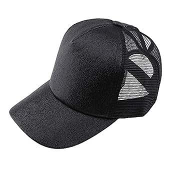 Lovoski Glitter Ponytail Baseball Cap Messy Bun Hat Women Girl Summer Mesh Truck Hat - Black, as described