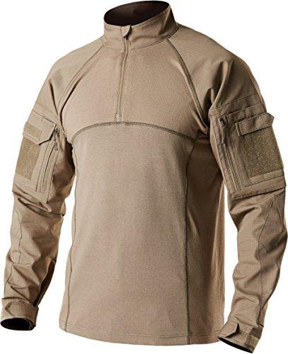 CQ-TOS201-CYT_X-Large CQR Men's Combat Shirt Tactical 1/4 Zip Assault Military Top Camo EDC TOS201
