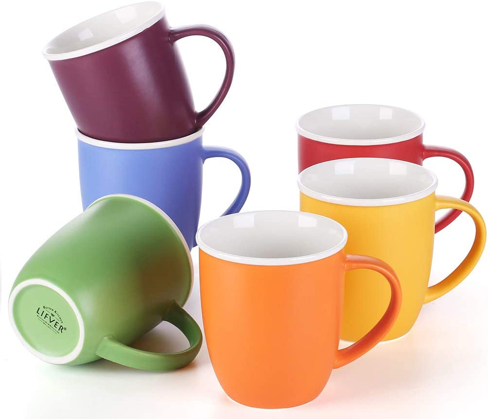 Amazon Com Lifver 18 Ounces Coffee Mugs Large Porcelain Cups For Coffee Tea Cocoa Set Of 6 Multi Colors Coffee Cups Mugs