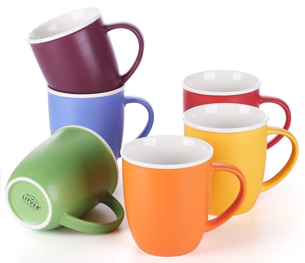 LIFVER 18 Ounces Coffee Mugs, Large Porcelain Cups for Coffee, Tea, Cocoa, Set of 6, Multi Colors