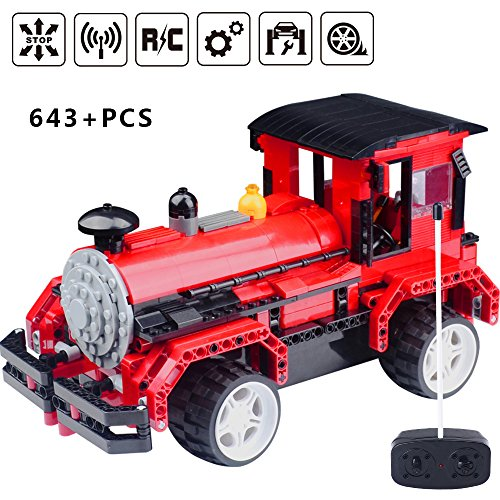 2.4GHz RC Building Block Steam Train Set for 6 Years Old and Up Railway Engine Construction Toy