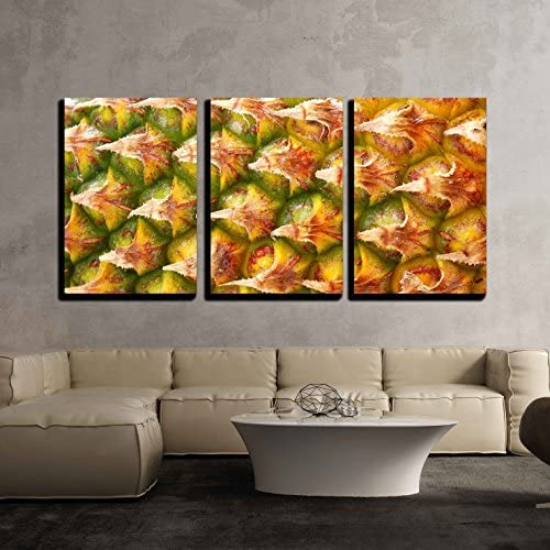 Ripe Pineapple Fruit Texture for Food and Beverage Healthcare x3 Panels