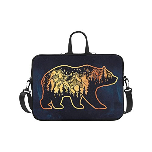 Laptop Sleeve Case 15 15.2 Inch,Bear With Mountains Resistan