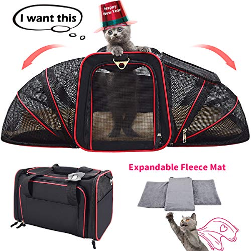 FRUITEAM Expandable Cat Carrier Soft-Sided, Foldable Pet Travel Carrier Airline Approved Cat Bag 44cmL x 28cmW x 28cmH, Two Extension Pet Bag with Bedding, Collapsible Pet Handbag for Small Dogs/Cats/Puppy/Kitten