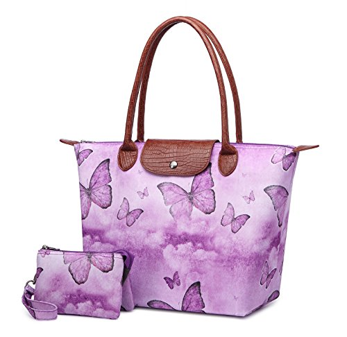 Crest Design Women's Stylish Waterproof Nylon Tote Handbag Travel Shoulder Beach Bag with Wristlet (Purple - Womens Butterfly