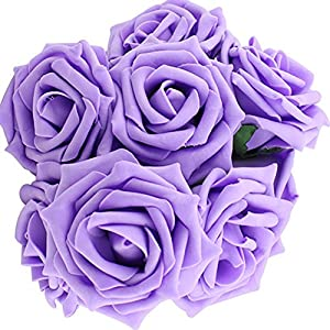 Yonger 10 pcs Artificial Silk Latex Rose Flowers Decoration Bridal Wedding Bouquets with Pole Purple 47