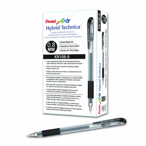 Pentel Arts 0.8mm Hybrid Technica Gel Pen, Black, Box of 12 (KN108-A)