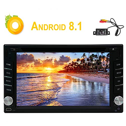 6.2 Inch Android 8.1 Capacitive Touchscreen Double DIN in Dash Head Unit Autoradio Car GPS Navigation DVD Player 1080P Video Head Unit Support Bluetooth/WiFi/OBD2/3G/4G/SWC & Rear Camera