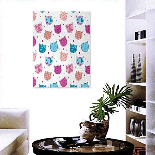 Teen Girls canvas print wall art painting for home decor Cat Heads Silhouettes with Stars Dots and Stripes Checked Patterns Patchwork wall decorations for living room sticker 24