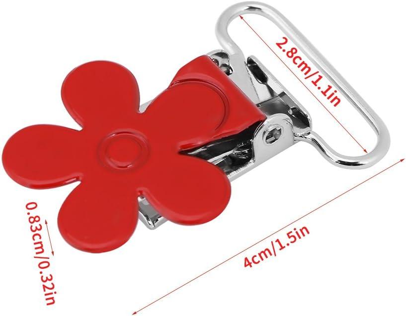 Color Mezclado 10PCS 25mm Mini Ciruela en Forma de Flor del Suspensor de la Suspensi/ón del Chupete Clip del Sostenedor del Resorte del Chupete Decorativo DIY Craft