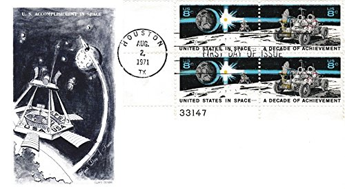 Stamp Block First Day Cover - United States Scott 1434-1435 8c Space Achievements Se-tenant Plate 33147 Block 1971 Houston, TX First Day of Issue. Cliff's Covers cachet. Unaddressed.