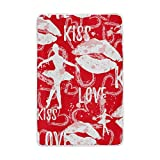My Little Nest Lips Love Heart Ballet Girl Cozy Throw Blanket Lightweight Microfiber Soft Warm Blankets Everyday Use for Bed Couch Sofa 60'' x 90''