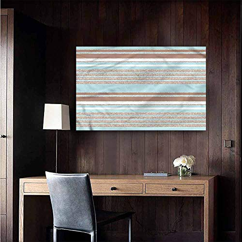 (Michaeal Waterproof Art Wall Paper Poster Aqua Horizontal Stripes Lines Landscape Scenery Painting Size : W48 x H32)