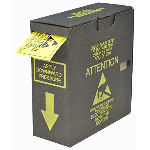 Static Warning Labels - DESCO 06735 ESD Attention Label with Dispenser Box, 2