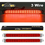 "Partsam Waterproof 17"" Inch High Power 40 LED Red Utility Trailer Truck RV Stop Tail Turn 3rd Brake Marker Identification Light Bar w/Chrome Bezel (Pack of 2)"