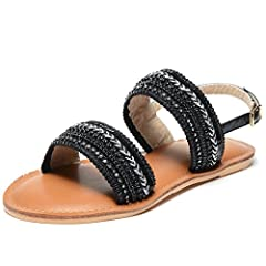 Womens Flat Slingback Sandals Buckle Open Toe Shoes Sandals Size 6-8.5