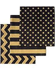 105 Sheets Gold Black Tissue Paper Bulk, Metallic Gift Wrapping Paper for Graduation, Birthday, Christmas Party Decoration, DIY Arts Crafts, Weddings, Bridal Showers, 20 Inch x 12 Inch
