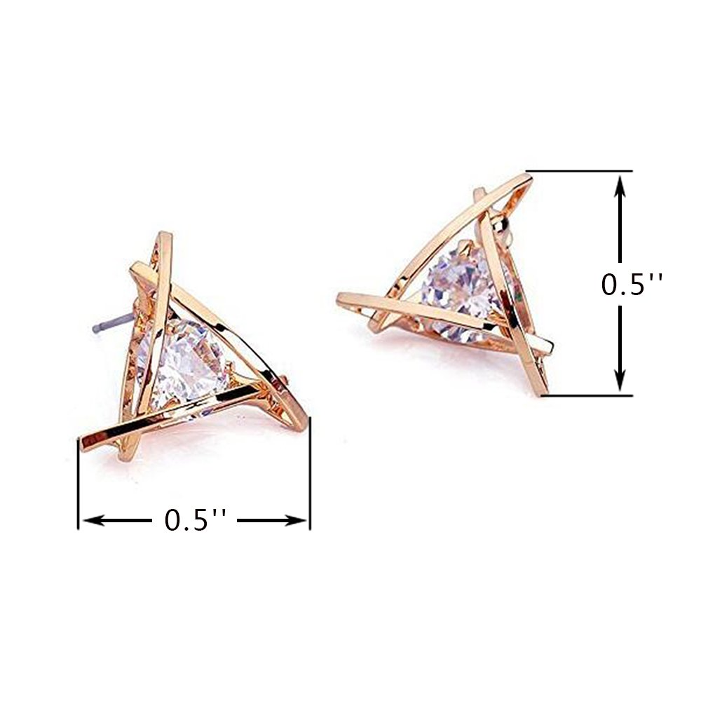 6c4242e56 Carfeny Rose Gold Stud Earrings Triangle Shaped CZ Earrings for Women  Expertly Made of Sparkling Starlight Round Cut Cubic Zirconia, ❤️Gift for  Her❤️