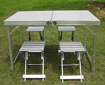 Mesas y sillas al aire libre plegables Conjunto paneles de aluminio Tabla portable Mesa de comedor barbacoa Tabla Beach: Amazon.es: Deportes y aire libre