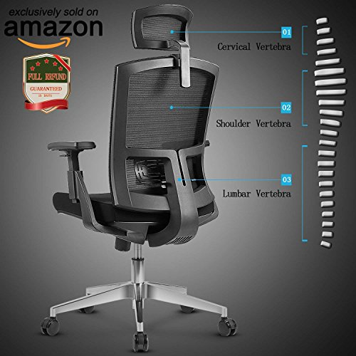 Back Chair Tilt Swivel (Mesh High Back Extra Thicker Padded Swivel Office Chair with Arm Rests Height Adjustable and Head Support 3 Adjustable Tilt Tension)