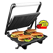 Aicok Panini Press Grill, Panini Maker, Sandwich Maker with 4 Servings Nonstick Plates, Cafe-Style Floating Lid, Removable Drip Tray, 1200W, Silver