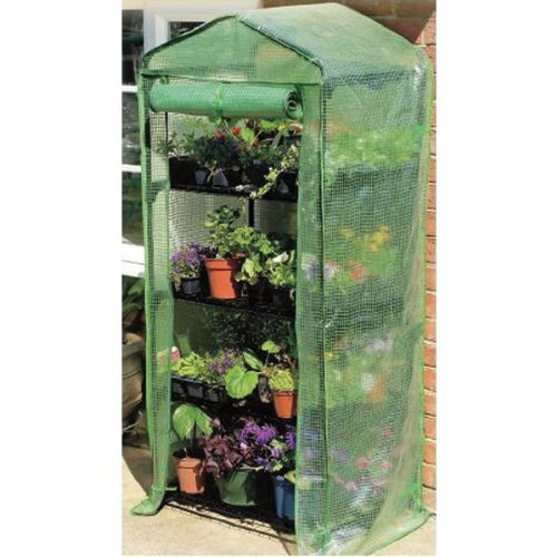 Gardman 7610 4-Tier Greenhouse with Reinforced Cover, 18'' Long x 27'' Wide x 63'' High by Gardman
