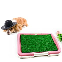 OWIKAR Pet Dog Toilet Urinary Trainer Grass Mat Pet Potty Dog Training Absorbent Pad Indoor House Litter Tray Restroom For Pets (Pink)