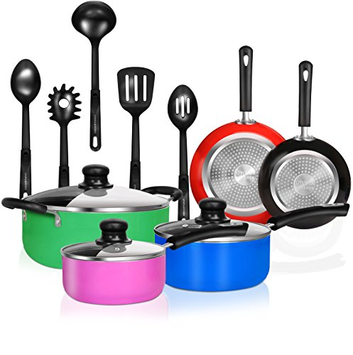 13 Pieces Kitchen Cookware Set - Pots and Pans Set with Cooking Utensils - Double Nonstick Coating - Induction Bottom - Riveted Handles - Utopia Kitchen