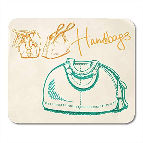 Mouse Pads Orange Beautiful Brown Tote Sketch Imitating Bags with Markers Green Accessory Boutique Mouse Pad for notebooks,Desktop Computers mats 7.08 (L x 8.66 (W) inch Office Supplies ()