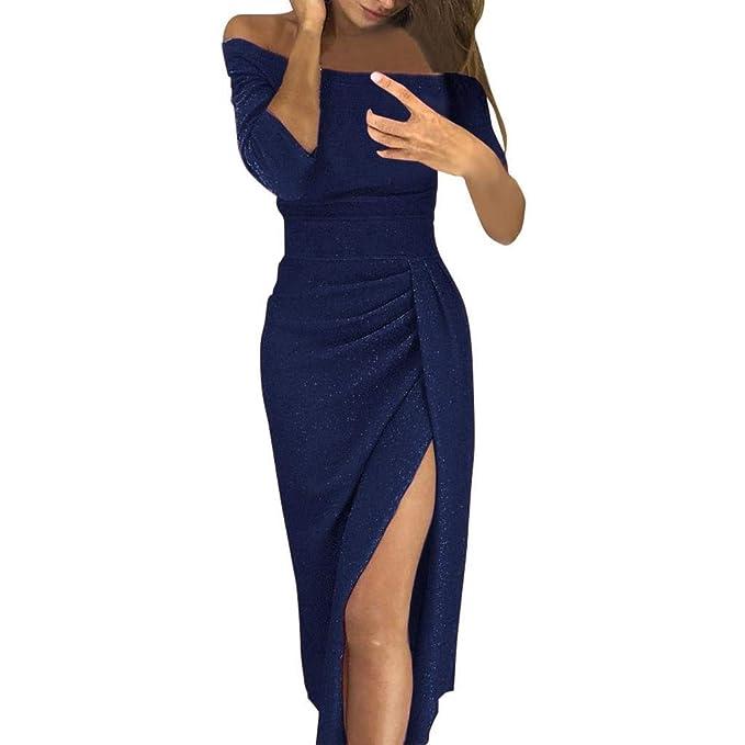 734924f4d1f SHOBDW Vestidos Mujer Hombro Sólido Delgado Atractivo de Alta Hendidura Bodycon  Lápiz Vintage Tallas Grandes de Manga Larga para Mujer Fiesta de Noche ...
