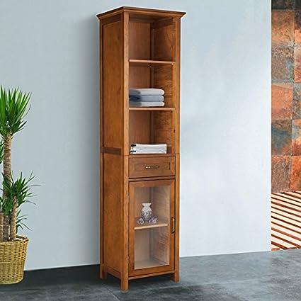 Wooden Oak Finish Linen Tower Storage Cabinet, Adjustable Shelves