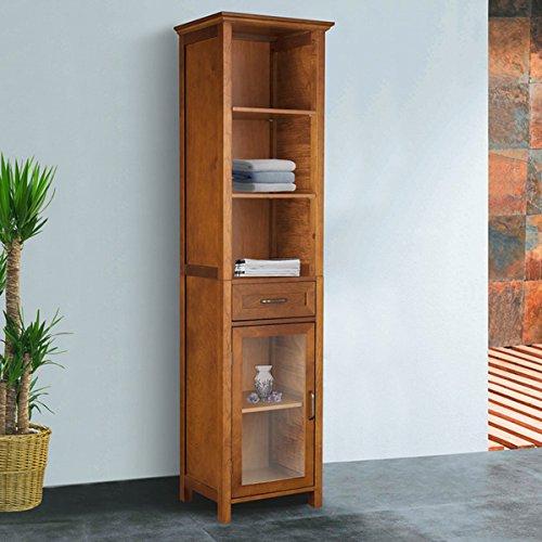 51hobspLptL - Wooden Oak-Finish Linen Tower Storage Cabinet, Adjustable Shelves