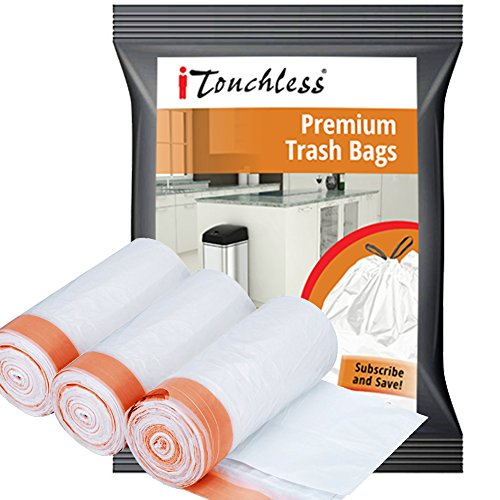 iTouchless Custom Fit Trash Bags, Compactor Bags, Heavy Duty, Drawstring (120, 13 Gallon)