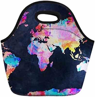 Coloranimal Cooler Warm Neoprene Lunch Tote Bag World Map Pattern Lunchbag  Pouch ef516efd2f
