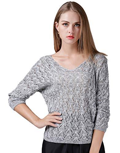 Itemnew Women's Lovely Pointelle Crochet V-Neck Dolman Sleeve Knitwear Sweater Tops (Free Size, Light Grey)
