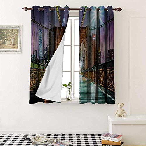 - Flyerer Landscape Decor Curtains by Brooklyn Bridge Pedestrian Walkway Before Sunrise American Landmark Picture Curtains Girls Bedroom W63 x L63 Inch Purple Brown