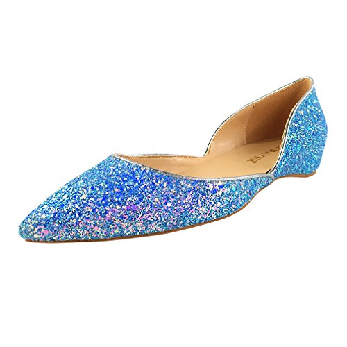 ENMAYER Womens PU Material Flat Pumps Pointed Toe Slip-on Casual Comfort Office Work Shoes Blue