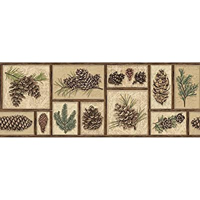 York Wallcoverings BP8367BD Border Portfolio II Evergreen Border Removable Wallpaper,,, Beige/green/Brown/Tan